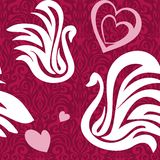Seamless swans and heart Stock Photo