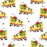 Seamless sweet background. Pattern with cheesecake. Watercolor illustration Stock Photography