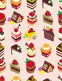 Seamless sweet cake pattern. Drawing Royalty Free Stock Images