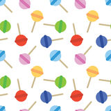 Seamless Sweet Colored Lollipop Candy Pattern Stock Image