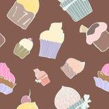 Seamless sweet cupcake background pattern in. Seamless sweet cupcake pattern on chocolate background Royalty Free Illustration