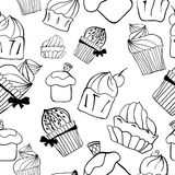 Seamless sweet cupcake background pattern in. Graphic style Vector Illustration