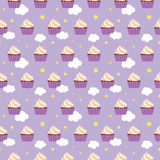 Seamless Sweet Cupcakes Pattern Stock Photo
