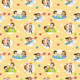 Seamless sweet family pattern Stock Image