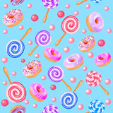 Seamless sweet fruit donuts candy Stock Image