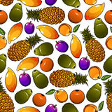 Seamless sweet and juicy fresh fruits pattern Royalty Free Stock Image