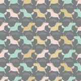 Seamless sweet pastel unicorns silhouette stripe vector repeat pattern background. Ideal for children and babies. royalty free illustration
