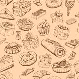 Seamless sweet pastries Royalty Free Stock Images