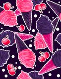 Seamless sweet pattern with berry and gothic black icecream cones, sweet cherries in cartoon style Royalty Free Stock Images