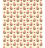 Seamless sweet pattern with cupcake and hearts on yellow Stock Photos