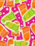 Seamless sweet pattern with ice popsicles and bubbles in cartoon style on sparkle background. Royalty Free Stock Photo