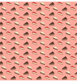 Seamless sweet pattern. The pieces of the pie and cake on pink Stock Photography