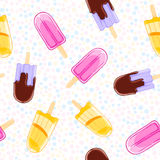 Seamless sweet pattern with popsicles in cartoon style on polka dot background. Royalty Free Stock Photo