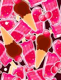 Seamless sweet pattern with popsicles, icecream cones and cherry in cartoon style Royalty Free Stock Photos