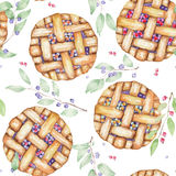 A seamless sweet pattern with the watercolor berry pie and branches of blueberry. Painted hand-drawn on a white background. A seamless sweet pattern with the stock illustration