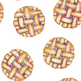 A seamless sweet pattern with the watercolor berry pie. Painted hand-drawn on a white background Stock Images