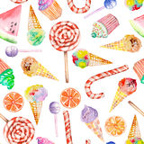 A seamless sweet pattern with the watercolor lollipop, candy cane, ice cream, muffins and other. Painted hand-drawn on a white bac Stock Photos