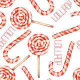 A seamless sweet pattern with the watercolor lollipop (candy cane). Painted hand-drawn on a white background Stock Images
