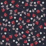 Seamless sweet strawberry pattern on blue background Stock Photography
