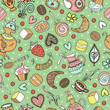 Seamless sweet tea pattern with diferent candies Stock Images