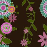 Seamless Swirl Floral Wallpaper Vector Pattern Royalty Free Stock Photos
