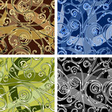 Seamless swirl pattern. Set of four seamless swirl curve patterns drawn in different color variations. Each variation contains separate background stock illustration