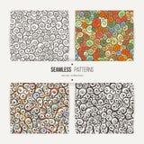Seamless swirl patterns set. Handdrawn doodle ringlets Stock Photo