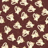 Seamless swirl wallpaper. With kitten Royalty Free Stock Images