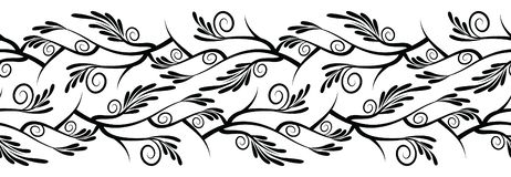 Seamless swirly black and white border. For textile fabrics and cloths Vector Illustration
