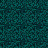 Seamless swirly floral background of dark turquoise winter holidays colors. Seamless (you see 9 tiles) floral pattern background (wallpaper, texture, tile royalty free illustration