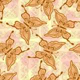 Seamless, Symbolical Butterflies Royalty Free Stock Photos
