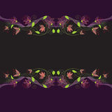 Seamless symmetric horizontal patten with stylized  flowers on dark background Stock Images