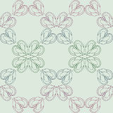 Seamless symmetric pattern with hand drawn decorative butterflies. Vector illustration for vintage design. The pastel shades. Royalty Free Stock Image