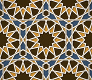 Seamless symmetrical abstract vector background in arabian style made of emboss geometric shapes with shadow. Stock Photo