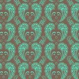 Seamless symmetrical mint lace on brawn background. Vector illustration Stock Image