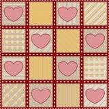 Seamless täcketextur med hjärtor Arkivfoto