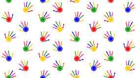 Seamless tablecloth with hand palms Stock Image