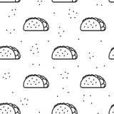 Seamless taco icon pattern on white background. Seamless taco black icon pattern on white background royalty free stock images