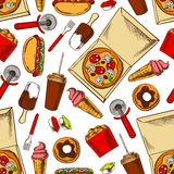 Seamless takeaway fast food pattern background Royalty Free Stock Photos