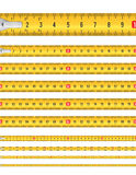 Seamless Tape Measure. Illustration of a seamless yellow classic tape measure tool, with meters and centimeters for mason and construction equipment royalty free illustration