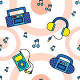 Seamless tape recorders  pattern. Seamless tape recorders pattern with circles and notes Stock Images