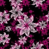 seamless tappning för blom- för grunge modell lilly stock illustrationer