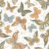 Seamless tappning mönstrad fjärilsbakgrund Arkivfoton