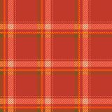 Seamless tartan pattern fabric. Cells green yellow and white on a red background. Stock Images