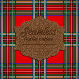 Seamless tartan pattern and label with seamless leather texture Royalty Free Stock Photography