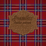 Seamless tartan pattern and label with seamless leather texture Stock Photos