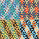 Seamless tartan pattern set. Diagonal. Cool palette. Tartan seamless pattern Set. Diagonal texture. Fresh modern palette. Vector illustration Stock Photos