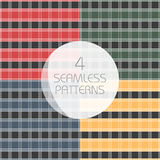 Seamless tartan patterns set. Red,yellow, green,blue kilts fabric texture royalty free illustration