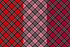 Seamless tartan patterns for Valentine's day. Illustration Royalty Free Stock Photography
