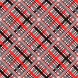Seamless tartan plaid pattern in stripes of red, black and white. Checkered twill fabric texture. Vector swatch for digital textil royalty free illustration